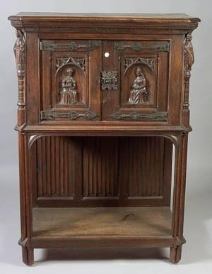 Gothic Revival Carved Oak Cabinet