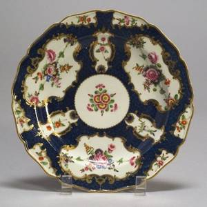 Ten Dr Wall Worcester Porcelain Scale Blue Plates