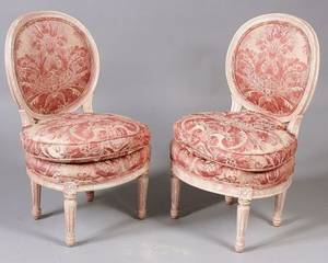 Pair of Louis XVI Style Painted Diminutive Side Chairs