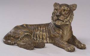 Austrian Cold Painted Bronze Figure of a Recumbent Tiger