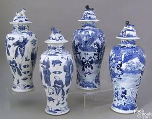 Two pairs of Chinese export porcelain garnitures late 19th c