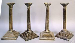 Set of 4 Sheffield plate candlesticks ca 1900