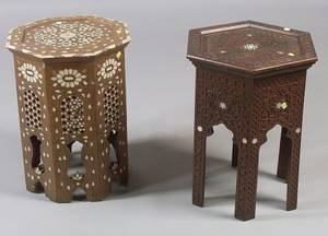 Two Syrian MotherofPearl Inlaid Hardwood Small Tables