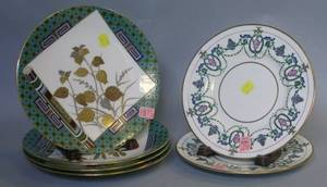 Set of Four Mintons Aesthetic Gilt and Enamel Decorated Porcelain Plates and a Pair of Mintons Gilt and Enamel Decorated Porcelain Plat