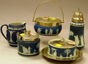 Wedgwood Dark Blue Jasper Dip and Silver Plate Mounted Box Caster Jam Pot Box and Undertray and a Small Jug
