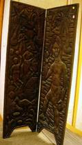 Ethnographic Carved Wood TwoPanel Floor Screen