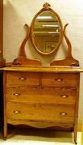 Early 20th Century Oak Mirrored Dresser