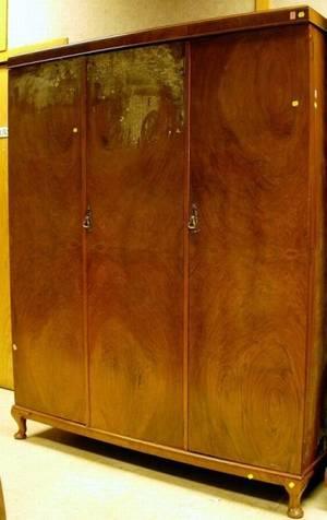 English Mid20th Century Walnut Veneer and Mahogany ThreeDoor Wardrobe Cabinet