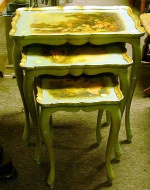Italian Rococostyle Nest of Three Gilt and Painted Wooden Tables