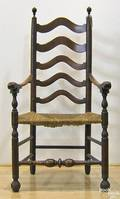 Tiger maple ladderback armchair