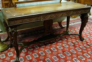Early 20th Century Rococo Inlaid Carved Walnut and Burl Veneer Library Table with Single Drawer