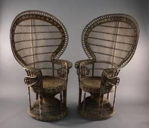 Pair of Wicker Fan Back Armchairs