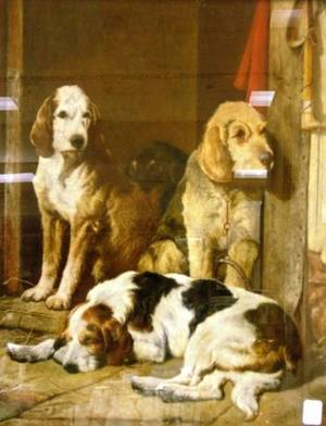 Framed Mixed Media of Hounds in the Stable