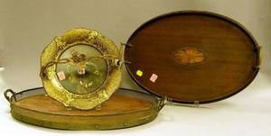 Two Georgianstyle Mahogany Trays and a Victorian Gilt Decorated Papiermache Basket