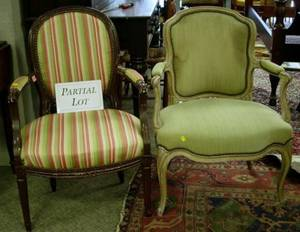 Pair of Louis XVI Upholstered Painted Wooden Fauteuils and a Louis XVI Style Upholstered Painted Carved Wood Armchair