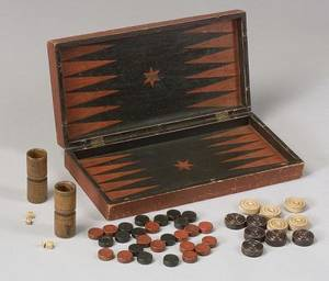 Painted Wooden Backgammon and Checkers Folding Game Board Box