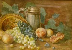 Framed Watercolor Still Life with Fruit and Stein