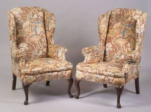 Pair of Queen Anne Style Upholstered Mahogany Wing Chairs