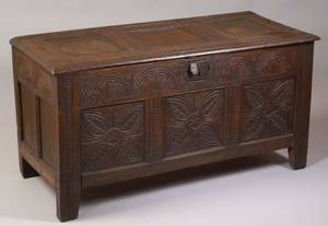 17th Century Continental Joined Carved Oak Chest