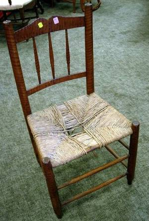 Late Federal Tiger Maple Spindleback Side Chair with Woven Seat
