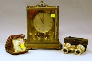 Schatz Brass and Glass Mantel Clock PhinneyWalker Travel Clock and a Pair of MotherofPearl Opera Glasses