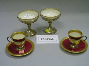 Set of Ten Sterling Silver Sherbet Frames with Gilt Porcelain Liners and a Set of Ten Sterling Silver Demitasse Frames with Lenox Gilt