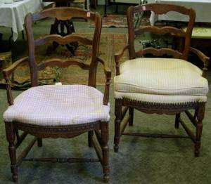 Pair of Frenchstyle Upholstered Fauteuils