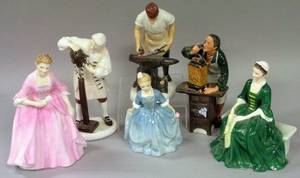 Five Royal Doulton Williamsburg Porcelain Figures and a Porcelain Figure