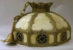Octagonal Giltmetal and Slag Glass Bent Panel Hanging Lamp Shade