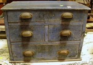 Small Blue Painted FourDrawer Chest