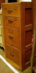 Remington Rand Oak FourDrawer File Cabinet