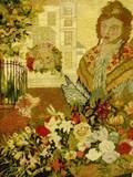 Framed Scenic Needlepoint Panel Depicting a Flower Seller