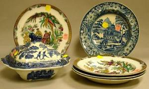 Six Pieces of Decorated Staffordshire Tableware