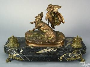 Elaborate bronze and marble standish 19th c