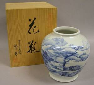 Japanese Blue and White Scenic Decorated Porcelain Vase