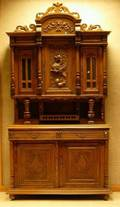 French Victorian Carved Oak TwoPart Buffet