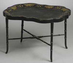 Gilt and Painted Tole Tray on Stand