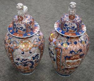 Large Pair of Imari Palette Porcelain Covered Jars