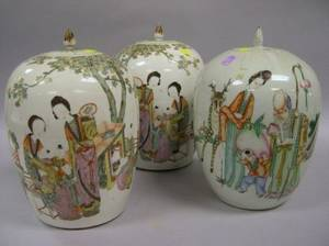 Pair of Chinese Export Porcelain Covered Jars and a Single Chinese Export Porcelain Covered Jar