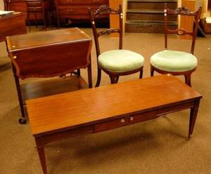 Pair of Victorian Upholstered Carved Walnut Parlor Side Chairs an Inlaid Mahogany Veneer Tea Cart and a Neoclassical Coffee Table