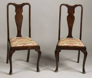 Assembled Set of Eight English Queen Anne Style Mahogany Dining Chairs with Upholstered Slip Seats