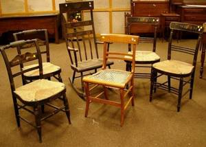Classical Grained and Stencil Decorated Highback Armrocker Two Pairs of Federal Paint Decorated Fancy Side Chairs and a Tiger Maple