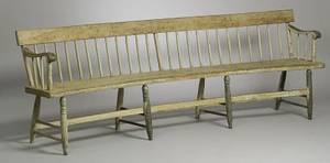 Diminutive Bowed Windsor Spindleback Deacons Bench