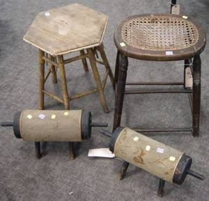 Pair of Rustic Victorian Carpeted Wooden Footrests a Grain Painted Caned Seat Stool and a Bamboo Tabouret