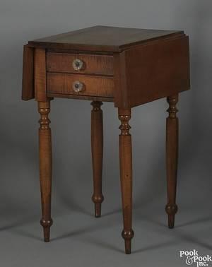 Pennsylvania Sheraton tiger maple work table ca 1820