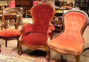 Victorian Upholstered Carved Walnut Parlor Chair Armchair and Side Chair