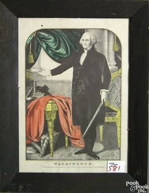 Two Currier  Ives and 1 Nathaniel Currier colored lithographs titled Washington