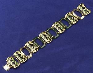 Art Deco 14kt Gold Enamel and Hardstone Bracelet