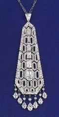 Art Deco Platinum and Diamond Tassel Pendant