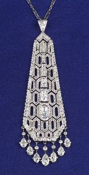 Art Deco Platinum and Diamond Tassel Pendant